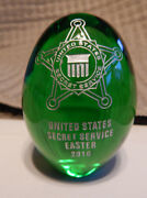 United States Secret Service Glass 2010 Green Easter Egg Official Usss Release