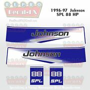 1996-97 Johnson 88 Hp Spl V4 Outboard Reproduction 4 Pc Marine Vinyl Decals 1997