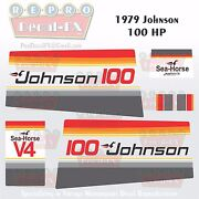 1979 Johnson 100 Hp V4 Sea-horse Outboard Reproduction 14 Pc Marine Vinyl Decals