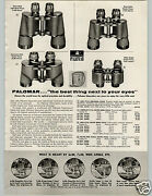1958 Paper Ad Palomar Binoculars Zeiss Style Deluxe Wide Angle 20x60