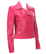 New 6495 Versace Hot Pink Quilted Leather Medusa Moto Jacket It. 38