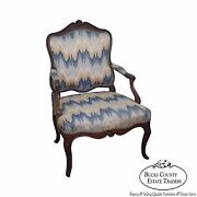 Antique 19th Century French Louis Xv Style Fauteuil Open Arm Chair
