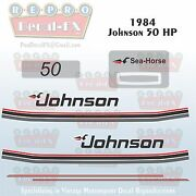 1984 Johnson 50 Hp Sea-horse Outboard Reproduction 11 Piece Marine Vinyl Decals