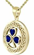 New 14k Yellow Gold Irish Shamrock Clover Synthetic Sapphire Pendant Necklace