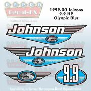 1999-00 Johnson 9.9hp Olympic Blue Outboard Reproduction 4pc Marine Vinyl Decals
