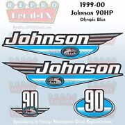 1999-00 Johnson 90 Hp Olympic Blue Outboard Reproduction 4pc Marine Vinyl Decal