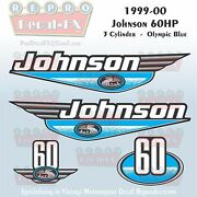 1999-00 Johnson 60 Hp 3 Cyl Olympic Blue Outboard Reproduction 4pc Vinyl Decal