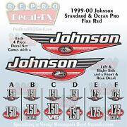 1999-00 Johnson 150/175 Hp Fire Red Outboard Repro 4 Piece Marine Vinyl Decals