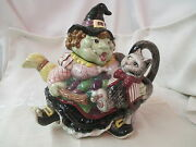 Vintage 1982 Fitz And Floyd Teapot Witch With Black Cat Under Arm 37 Oz