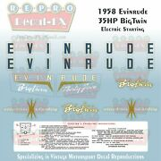 1958 Evinrude 35 Hp Electric Big Twin Outboard Repro 9pc Vinyl Decal 25936-25937
