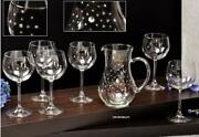 Le Monde, Jeweled Crystal Wine Glasses On A Long Stem And Decanter Set