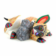 Mother Dog And Pup Oaxacan Alebrije Wood Carving Folk Art Damian And Beatriz Morales