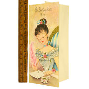 Vintage Birthday Greeting Card Unused Cute Victorian Girl Inkwell And Feather Pen
