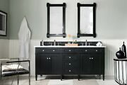 72 James Martin Brittany Black Onyx Double Bathroom Vanity + White Marble Top