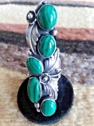 Navajo Sz 8 And 8.5 Green 5 Stone Malachite Silver Collectible Signed Ring Usa
