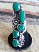 Navajo Sz 9 And 9.25 Green 5 Stone Malachite Silver Collectible Signed Ring Usa