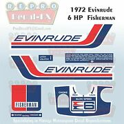 1972 Evinrude 6hp Fisherman Outboard Reproduction 7pc Marine Vinyl Decal 6202-03