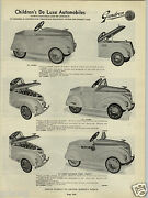 1941 Paper Ad Pioneer Gendron Pedal Car Cars Fire Chief Huffman Bicycle Champion