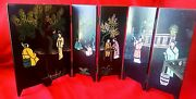 Chinese Asian Table Top Carved Wooden 6 Panel Oriental Folding Art Screens