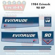 1984 Evinrude 90 Hp V4 Outboard Reproduction 6 Piece Marine Vinyl Decals 90tlcr