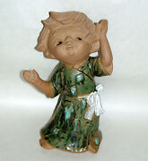 "Lrg Vintage Japan 10"" Pottery Partial Glazed Clay Sculpture Little Girl Dancing"