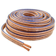 Car Home Audio Speaker Wire Transparent Clear Cable 10awg 100ft 10/2 Gauge