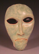Eric Olson Pottery, Little Green Man Sculpture wall hanging, art pottery