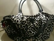 Kate Spade Black And White Patent Leather Canvas Tote And Baby Diaper Bag