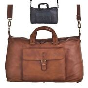 Large Leather Weekend Bag For Men And Ladies Soft Vintage Durable Feel And Look