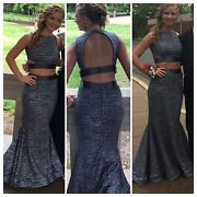 Jovani Prom Grey Dress, 2 Piece, Size 0. Like Brand New Worn Once This Year.