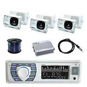 In-dash Marine Receiver W/pyle Box Speakers Pyle Amp Antenna And Enrock Wire