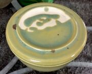 Vintage Mid-Century Modernist Studio Thrown Pottery Butter Crock Signed Unused