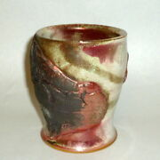 "OOAK Hand Made Studio Art Pottery 4 1/4"" Cup Vase Gold Accents signed"