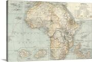 Africa - Vintage Map Canvas Wall Art Print, Map Home Decor