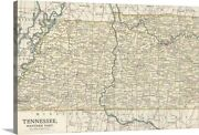 Tennessee, Western Part - Vintage Map Canvas Wall Art Print, Map Home Decor