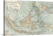 East India Islands Malaysia And Canvas Wall Art Print Map Home Decor