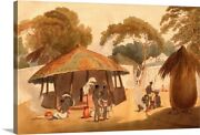 Booshuana Village, Southern African Canvas Wall Art Print, Africa Home Decor