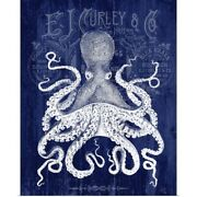 Octopus Prohibition Octopus On Blue Poster Art Print Home Decor