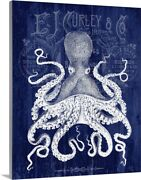 Octopus Prohibition Octopus On Blue Canvas Wall Art Print Home Decor