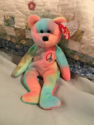 Retired Rare 4053 Ty Pastel Peace Bear Tie Dye Beanie Baby With Valuable Errors