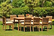 Giva Grade-a Teak 9 Pc Dining 94 Rectangle Table 8 Armless Chair Set Outdoor