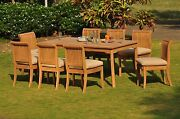 Giva Grade-a Teak 9pc Dining 71 Rectangle Table 6 Armless Chair Set Outdoor New