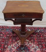 Early 19th C Regency Conch Shell Inlaid Mahogany Antique Table - Antique Stand