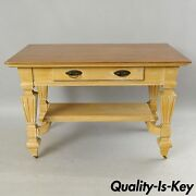 Antique Golden Oak Desk Hall Table Console Mission Arts And Crafts One Drawer