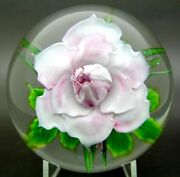 Daniel Salazar Large Pink Rose And Small Roses Glass Paperweightapr 3.75wx3.25h