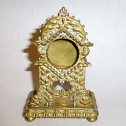 Antique 1800and039s Ornate 5 1/2 Brass Pocket Watch Stand With Ring / Pin Tray