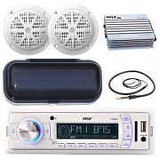 Pyle Marine Am Fm Remote Receiver 2x 6.5and039and039 Speakers Radio Shield Antennaamp