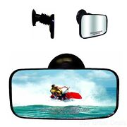 Marine Mirror Universal Suction Cup 4x8in Boat Yacht Utv Help Blind Spots Wider