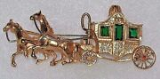 Detailed 18k Yellow Gold Horse Drawn Carriage Cinderella Emerald Ruby Brooch Pin