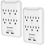 Power Outlet Wall Mount 6 Ac Socket Surge Protector With 2-usb Charging